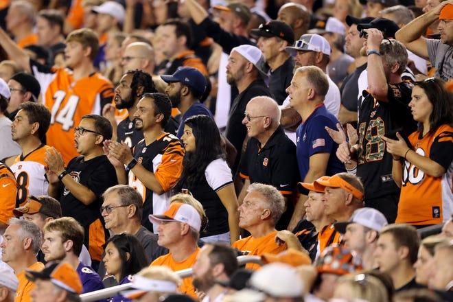 Cincinnati Bengals fans cheer on the team in the fourth quarter during the Week 2 NFL football game between the Baltimore Ravens and the Cincinnati Bengals, Friday, Sept. 14, 2018, Paul Brown Stadium in Cincinnati. Cincinnati won 34-23.