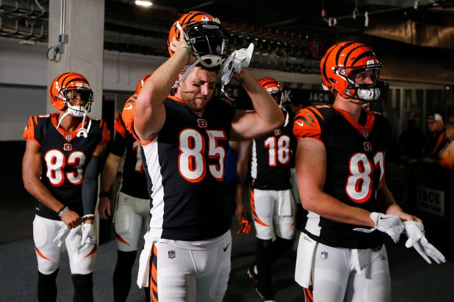 Cincinnati Bengals tight end Tyler Eifert (85) and the Bengals offense prepare to take the field before the first quarter of the NFL Week 2 game between the Cincinnati Bengals and the Baltimore Ravens at Paul Brown Stadium in downtown Cincinnati on Thursday, Sept. 13, 2018. The Bengals led 28-14 at halftime.