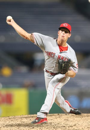 Cincinnati Reds relief pitcher Lucas Sims pitches against the Pittsburgh Pirates on Sept. 5.