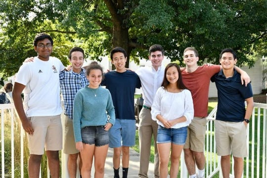 Seven Hills School National Merit semifinalists are, from left, Aryan Katneni, Chris Nathan, Ari Gleich, Max Yuan,  Max Lane, Susanna Spooner, Eddie Hatfield and George Eng.