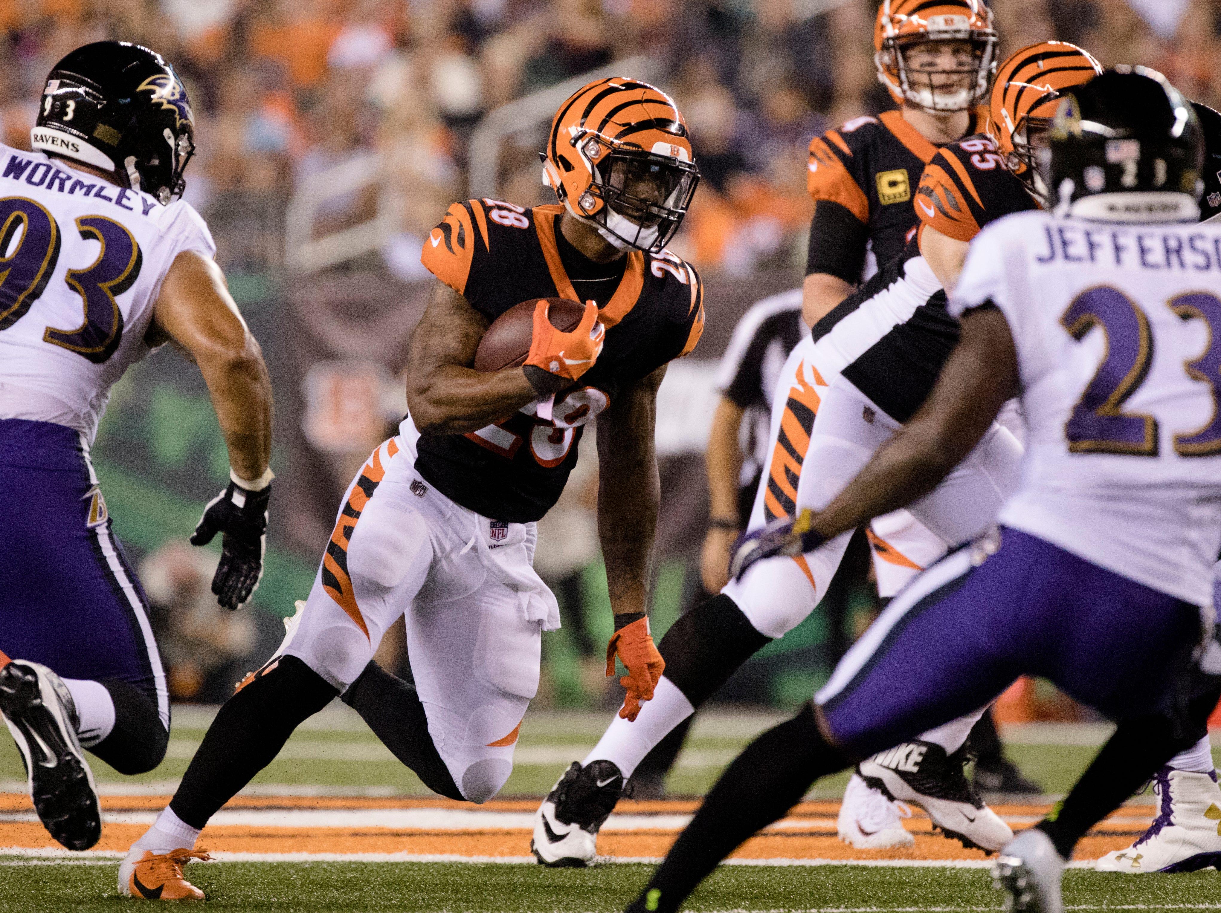 Cincinnati Bengals running back Joe Mixon (28) runs downfield during the Week 2 NFL game between the Cincinnati Bengals and the Baltimore Ravens, Thursday, Sept. 13, 2018, at Paul Brown Stadium in Cincinnati.
