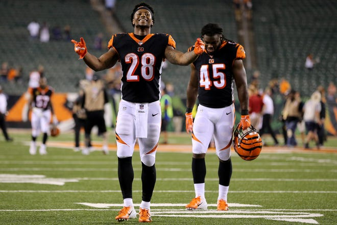 Cincinnati Bengals running back Joe Mixon (28) celebrates the win after the Week 2 NFL football game between the Baltimore Ravens and the Cincinnati Bengals, Friday, Sept. 14, 2018, Paul Brown Stadium in Cincinnati. Cincinnati won 34-23.