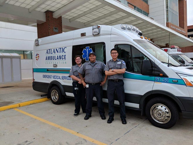 Three paramedics from Atlantic Health Systems, Richard Hathaway, Dan Vitale and Matthew Chiang, have been sent to South Carolina to assist with hurricane relief efforts.