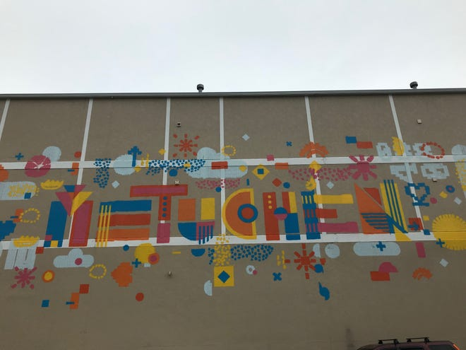 """Albert"" - a robotic graffiti artist, created by SprayPrinter, created a mural at 15 Station Place, Metuchen."
