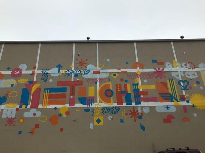 """Albert"" - aroboticgraffiti artist, created by SprayPrinter,created a mural at 15 Station Place, Metuchen."