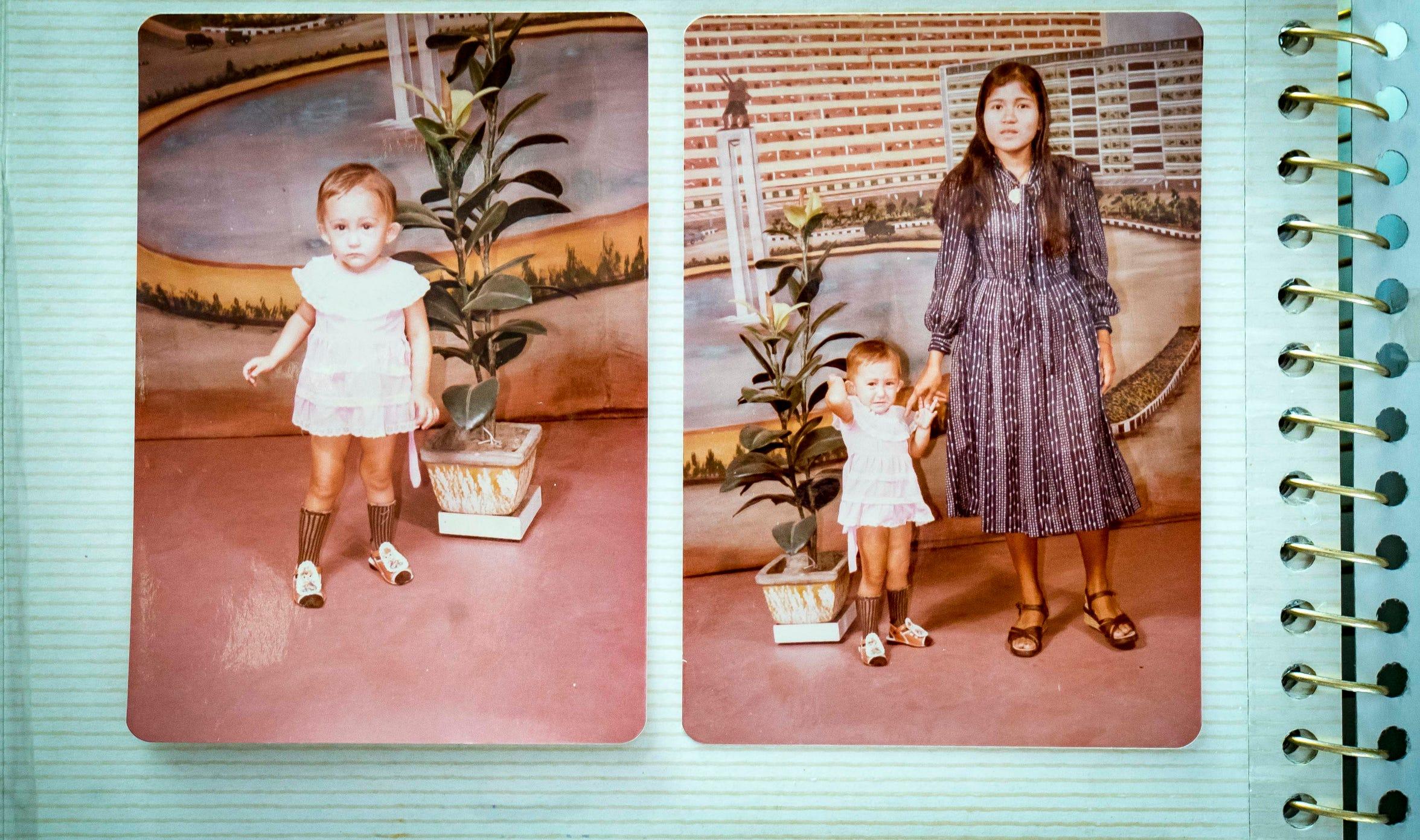 "Photo of A.W ""Dub"" Barron's daughter Yusimanidar Abdullah, left, with her mother, Zalikha Abdullah, in Lhoksukon, Indonesia, 1976, from family photo album."