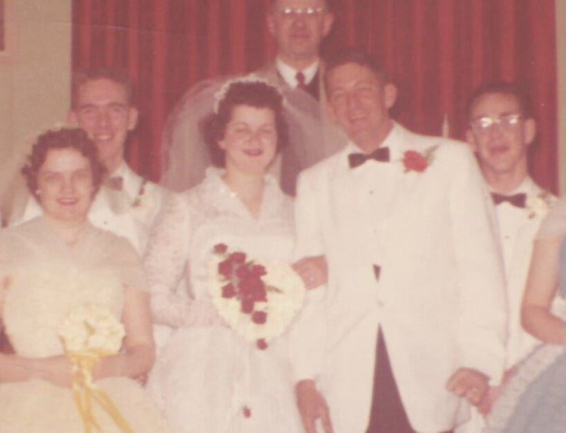 "Kathleen Joseph's wedding to A.W. ""Dub"" Barron on Feb. 15, 1960."