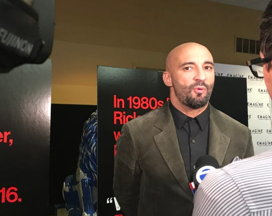"Director Yann Demange talks to the media before the Novi screening of ""White Boy Rick."""