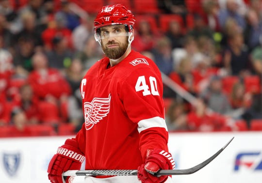 Detroit Red Wings center Henrik Zetterberg (40) looks on during the third period against the New York Islanders at Little Caesars Arena on April 7, 2018..