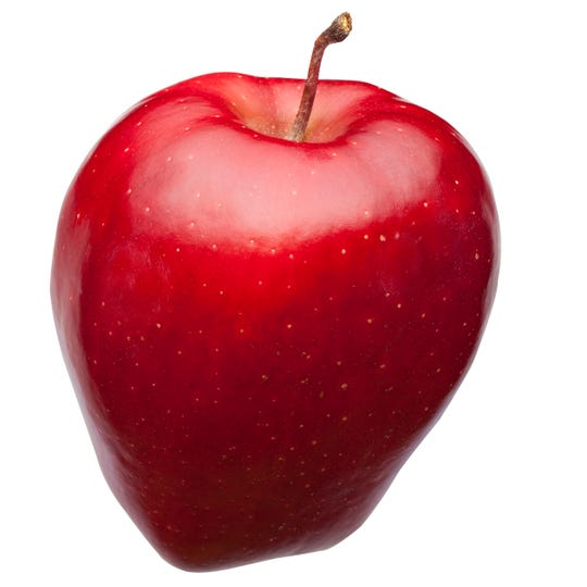 The Red Delicious apple  is long a favorite apple for eating fresh. Known for its sweetness and soft skin.