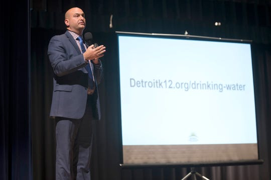 Detroit Public School Superintendent Dr. Nikolai Vitti addresses questions and concerns from students, parents and teachers about the unsafe level of lead found on Wednesday, Sept. 12, 2018 at East English Village Preparatory Academy in Detroit. Several water sources in the school were tested and unsafe levels of lead and copper were found.