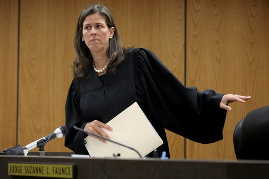 District Judge Suzanne L. Faunce on  Friday, Sept. 14, 2018 orders Tanaya Lanay Lewis, 17, to be held without bond at 37th District Court in Warren, Mich. on first-degree murder for the stabbing death of a classmate at Fitzgerald High School on Wednesday.