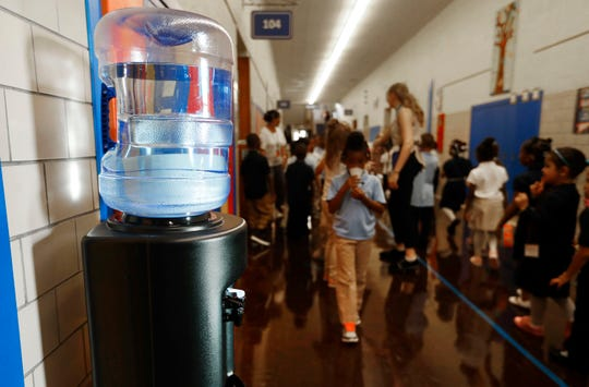 A bottled water dispenser in a hallway at Gardner Elementary School in Detroit, Tuesday, Sept. 4, 2018.