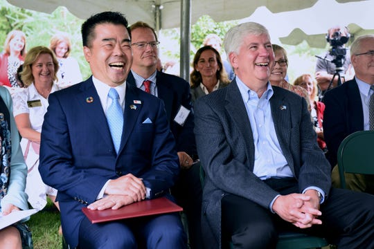 Taizo Mikazuki, Governor, Shiga Prefecture, Japan and Rick Snyder, Governor, State of Michigan, during the grand opening reception at Sakura Garden located at MSU Tollgate Farm and Education Center in Novi, Friday September 7, 2018.