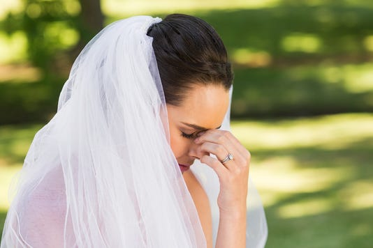 Close Up Of  Worried Bride At Park