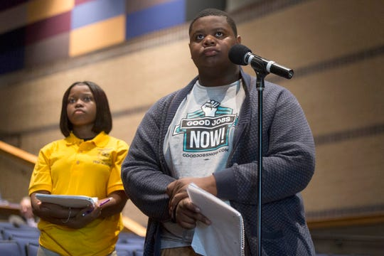 From left, East English Village Preparatory Academy students Ashanti Muhammad, 16, and Davonte Johnson, 17, both of Detroit, wait while questions are being answered by Detroit Public School Superintendent Dr. Nikolai Vitti about the unsafe levels of lead and copper found in their school on Wednesday, Sept. 12, 2018 at East English Village Preparatory Academy in Detroit.