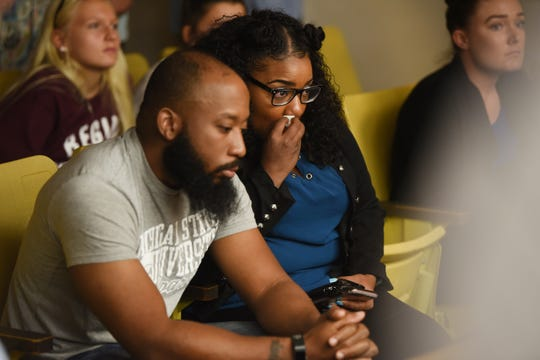 The parents of Tanaya Lanay Lewis, 17, watch and cry as their daughter is charged with first-degree murder for the stabbing of a classmate in 37th District Court in Warren on Friday, September 14, 2018.