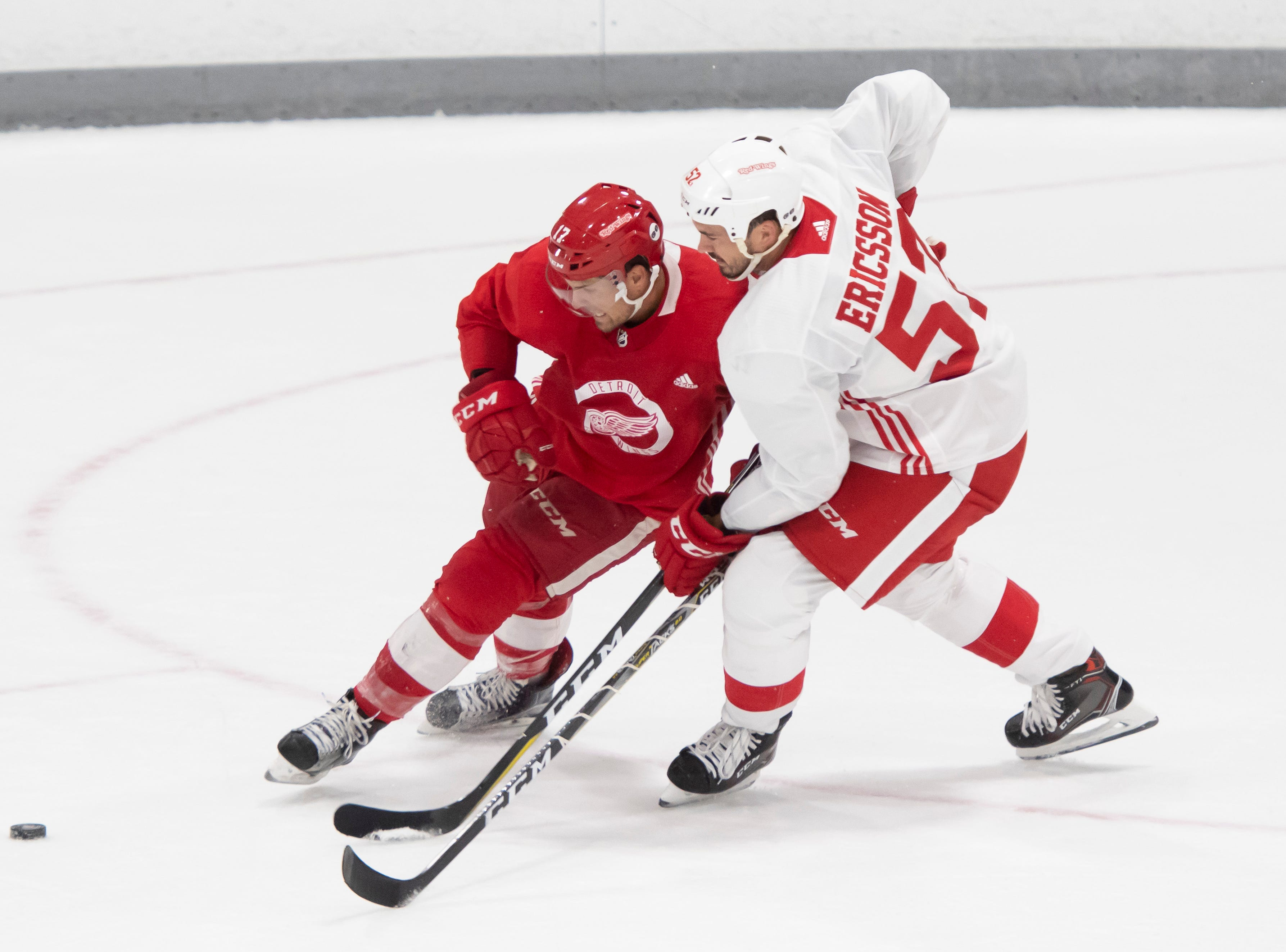Detroit forward Colin Campbell, left, and defenseman Jonathan Ericsson battle for the puck during a scrimmage.