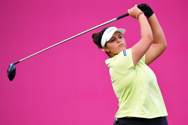 Maria Torres tees off during the second round of the Evian Championship in Evian-les-Bains, France on Friday.