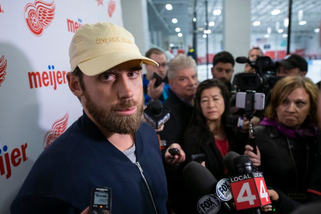 Detroit Red Wings captain Henrik Zetterberg announces his decision to retire from hockey due to a degenerative back condition during a news conference Friday at Centre Ice Arena.