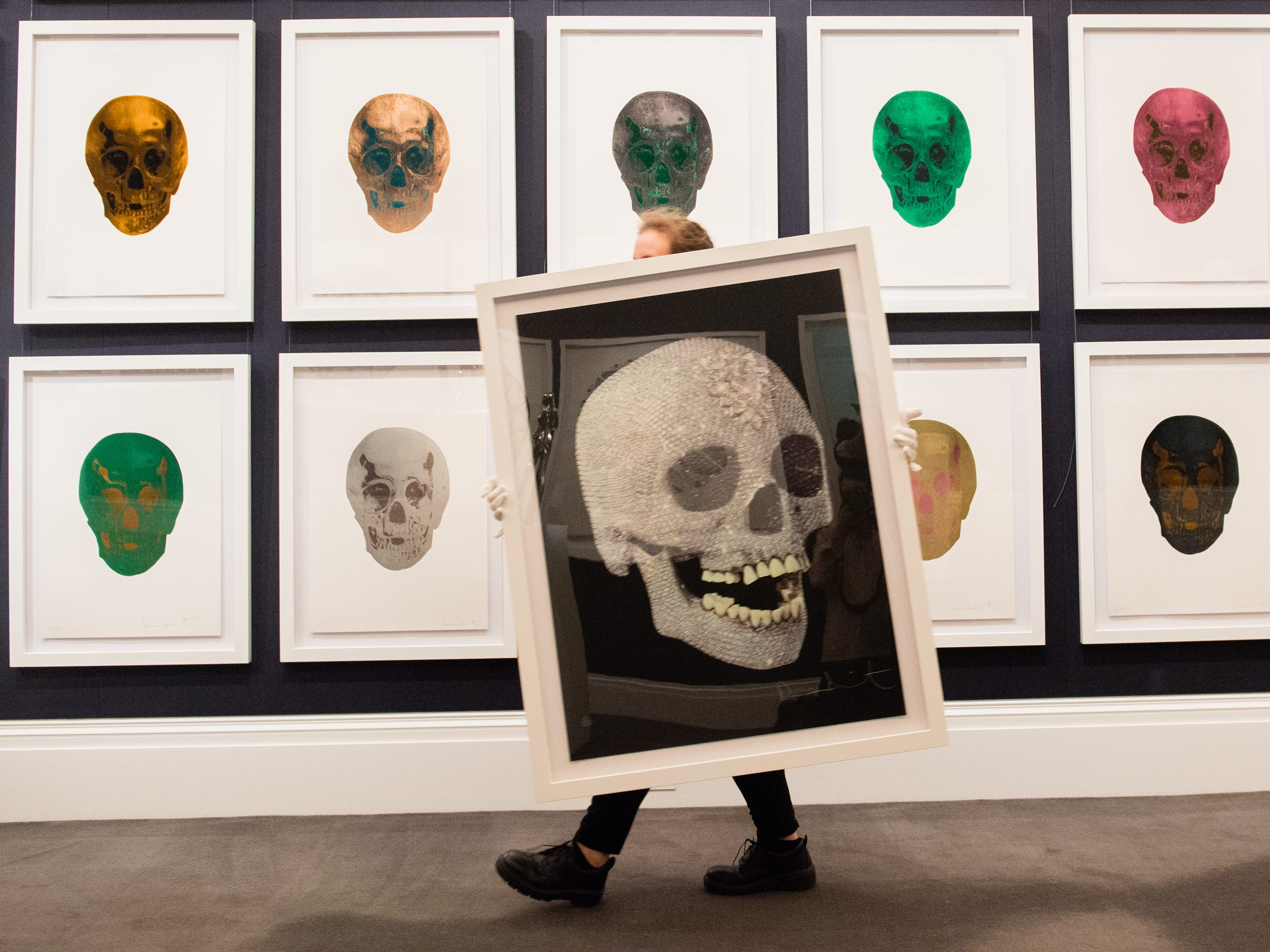 Over 200 works from the collection of Lorna and Frank Dunphy, former business manager to Damien Hirst, go on exhibition at Sotheby's ahead of their auction next week on September 14, 2018 in London, England.