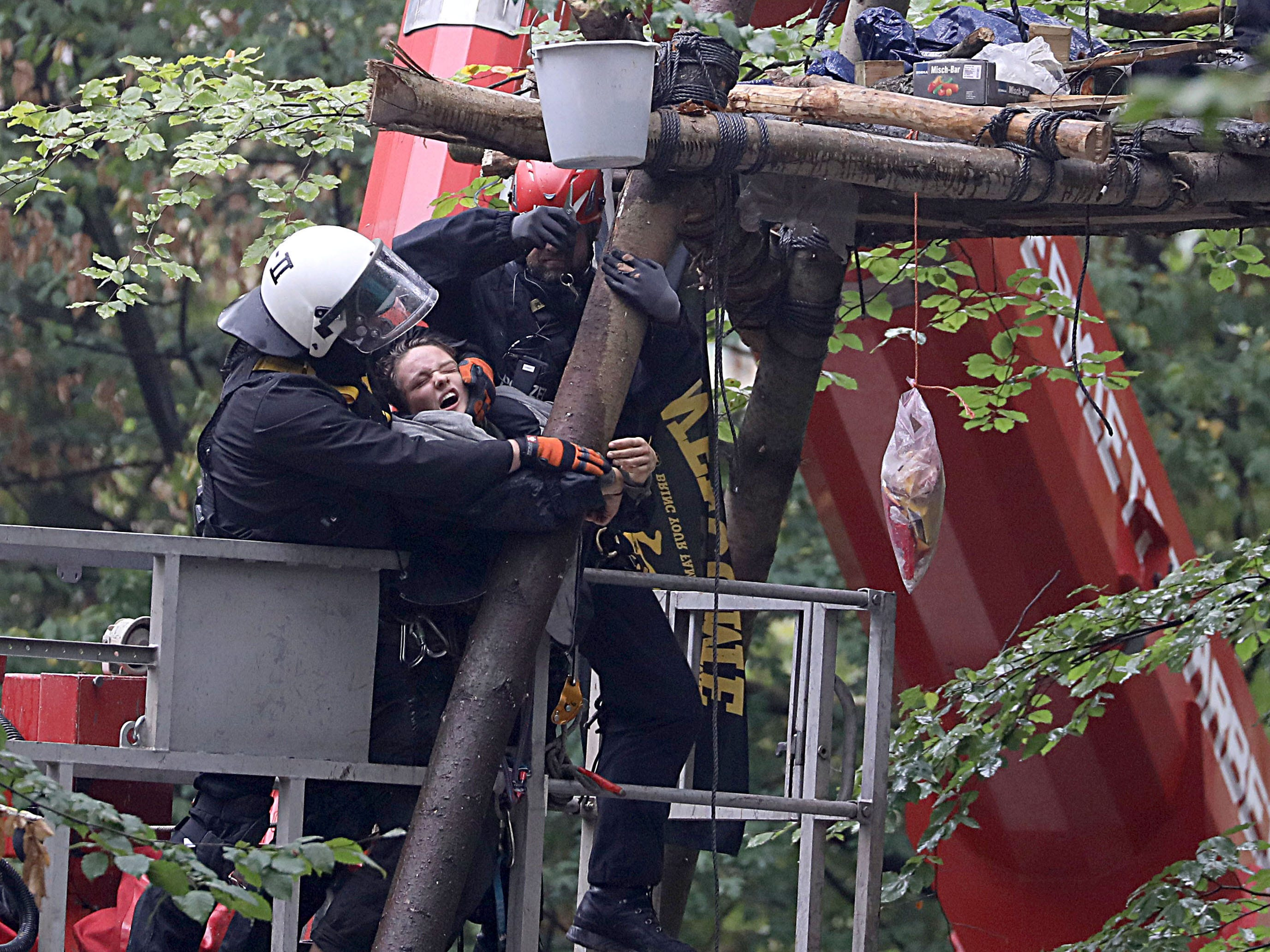 Policemen on a lifting platform drag an environmental activists from a so-called Tripod tree house in the Hambacher Forst forest in Kerpen, western Germany, on September 13, 2018. - German activists living in treehouses to protect the ancient forest from being razed for a nearby coal mine were facing a forced eviction by police, in a major escalation of the long running environmental battle.