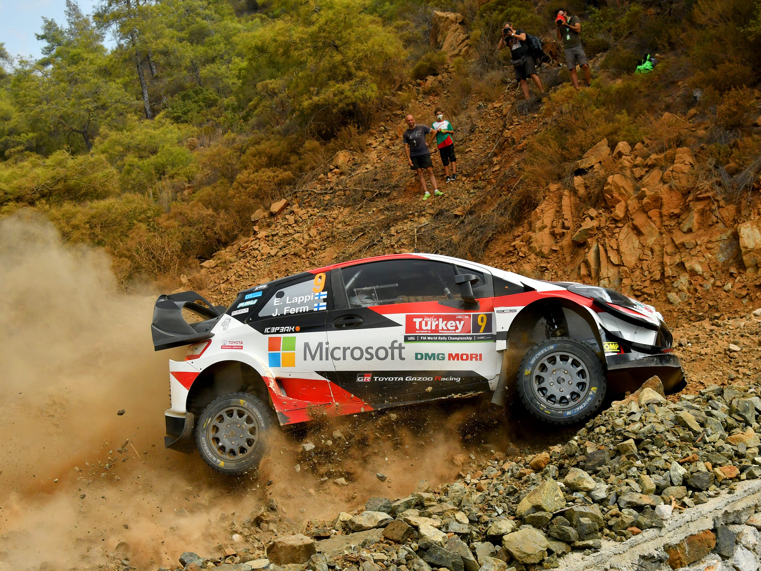 MARMARIS, TURKEY - SEPTEMBER 13:  Esapekka Lappi of Finland and Janne Ferm of Finland compete in their Toyota Gazoo Racing WRT Toyota Yaris WRC during the Shakedown of the WRC Turkey on September 13, 2018 in Marmaris, Turkey.