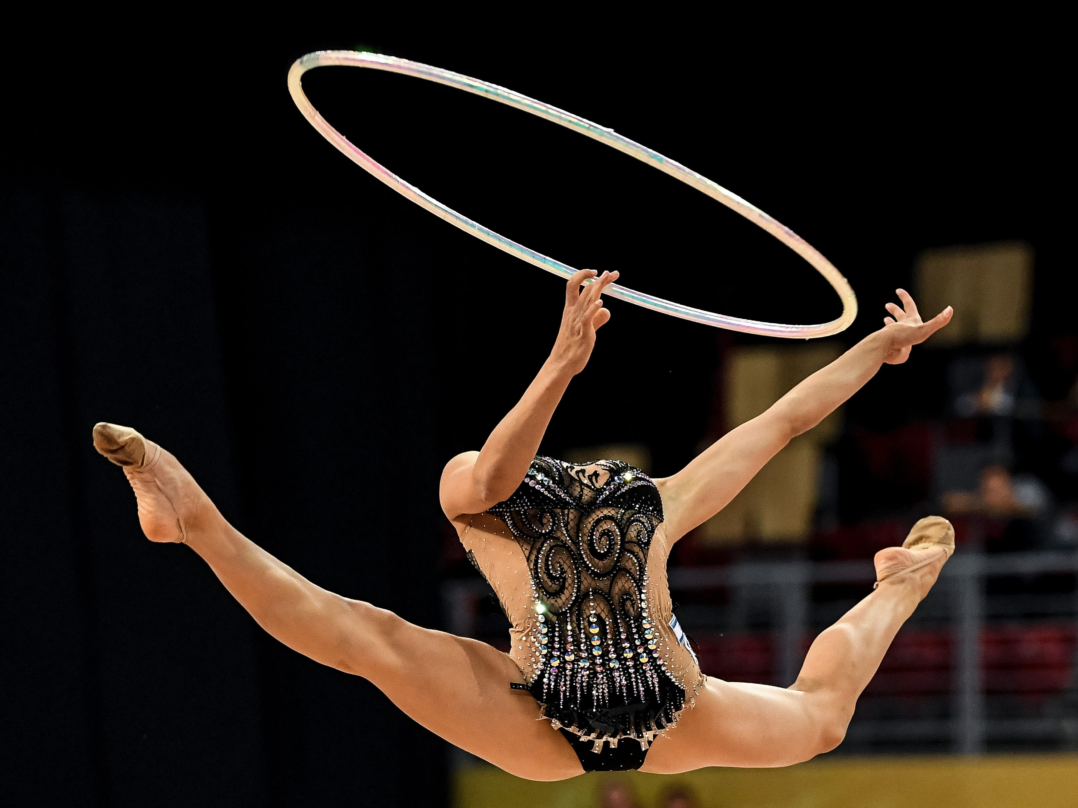 Israel's Ashram Linoy performs during the individual all-around final at the World Rhythmic Gymnastics Championships at Arena Armeec in Sofia on September 14, 2018.