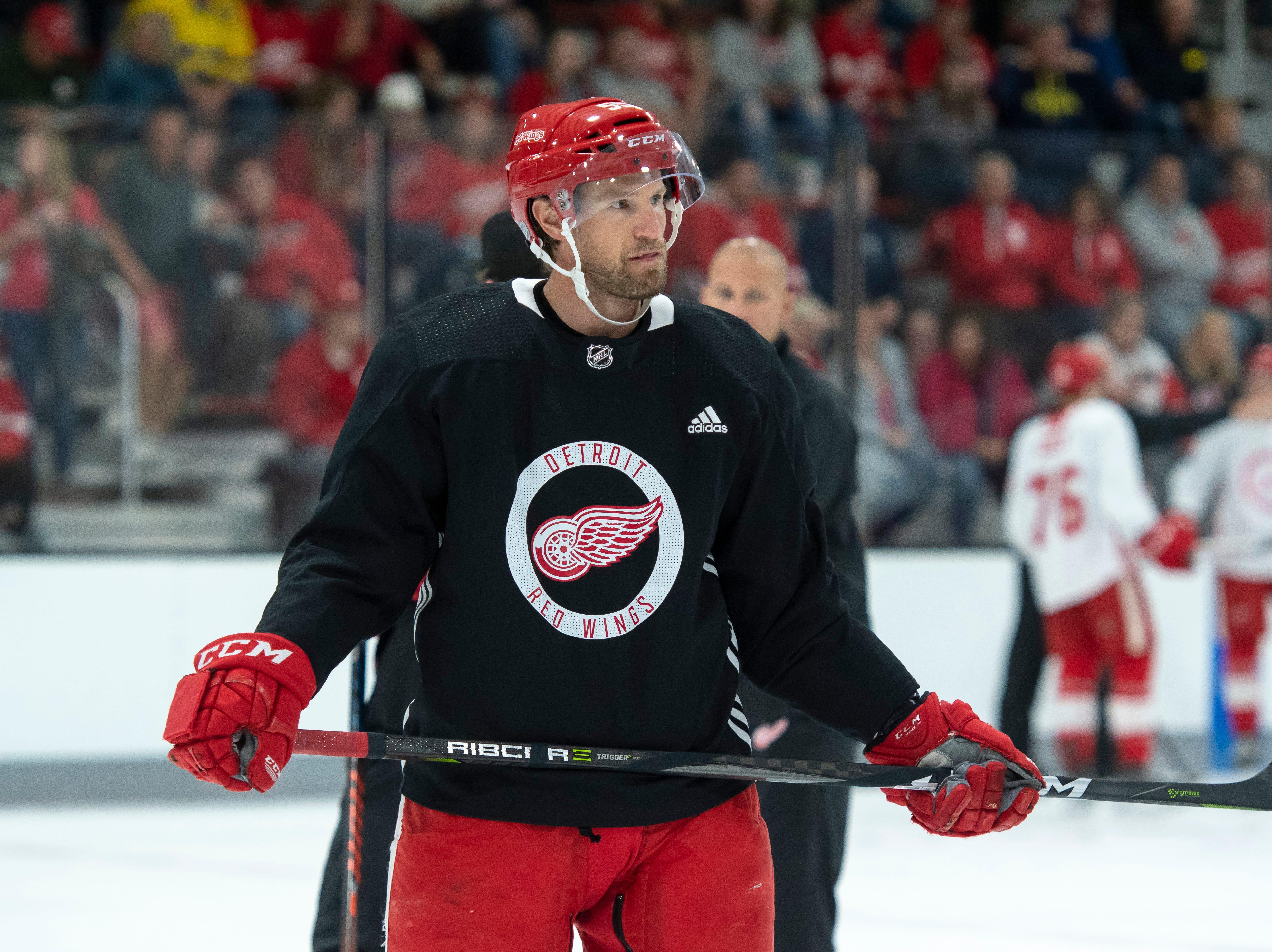 Detroit defenseman Niklas Kronwall skates with his teammates during practice.