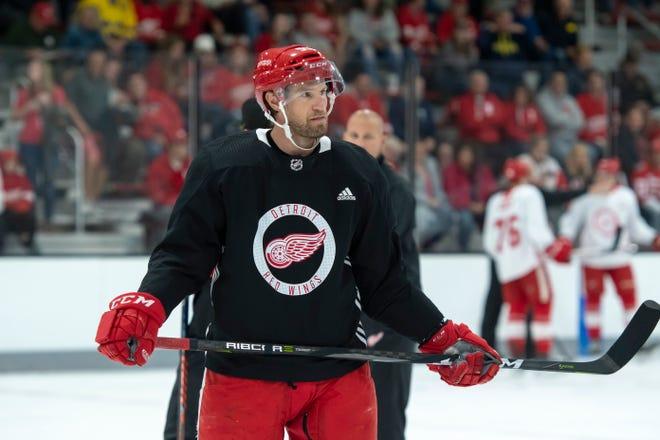 Red Wings defenseman Niklas Kronwall skates with his teammates during Friday's practice.