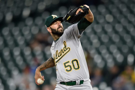 Mike Fiers started out 5-0 with a 2.72 ERA in his first seven starts with the A's.
