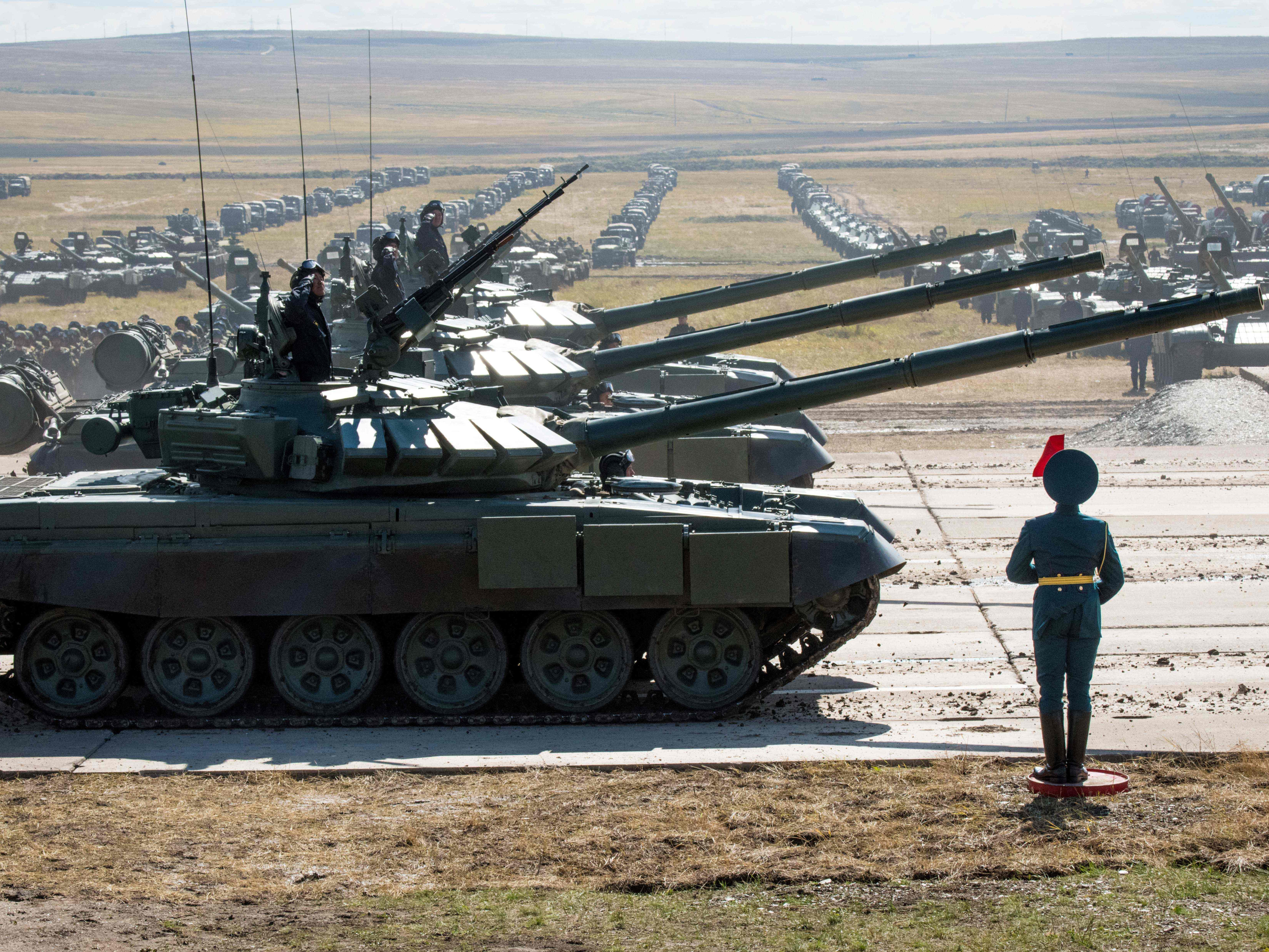 Russian, Chinese and Mongolian troops and military equipment parade at the end of the day of the Vostok-2018 (East-2018) military drills at Tsugol training ground not far from the Chinese and Mongolian border in Siberia, on September 13, 2018.