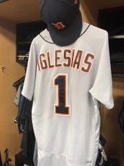 Jose Iglesias' jersey and hat remains in his locker in the visitor's clubhouse at Progressive Field in Cleveland. The shortstop was transferred to the 60-day disabled list on Friday, ending his season and possibly his career in Detroit.