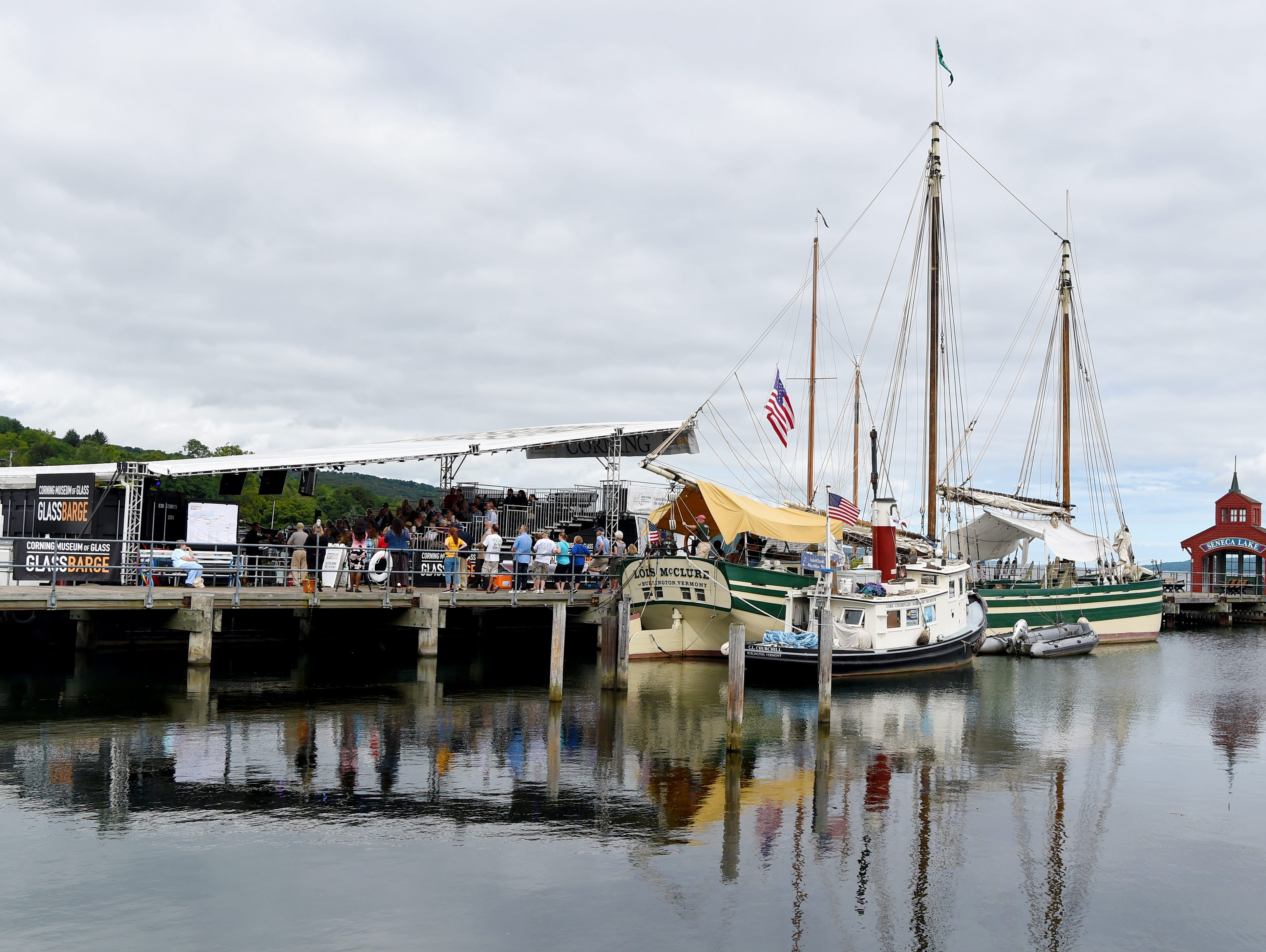 The GlassBarge, a canal boat with patented glass-making equipment, is nearing the end of its four-month long Erie Canal journey from Brooklyn to Corning. Presented by the Corning Museum of Glass, the GlassBarge is currently docked in Watkins Glen on Seneca Lake and welcomes visitors to glassmaking demonstrations. Friday, September 14, 2018.