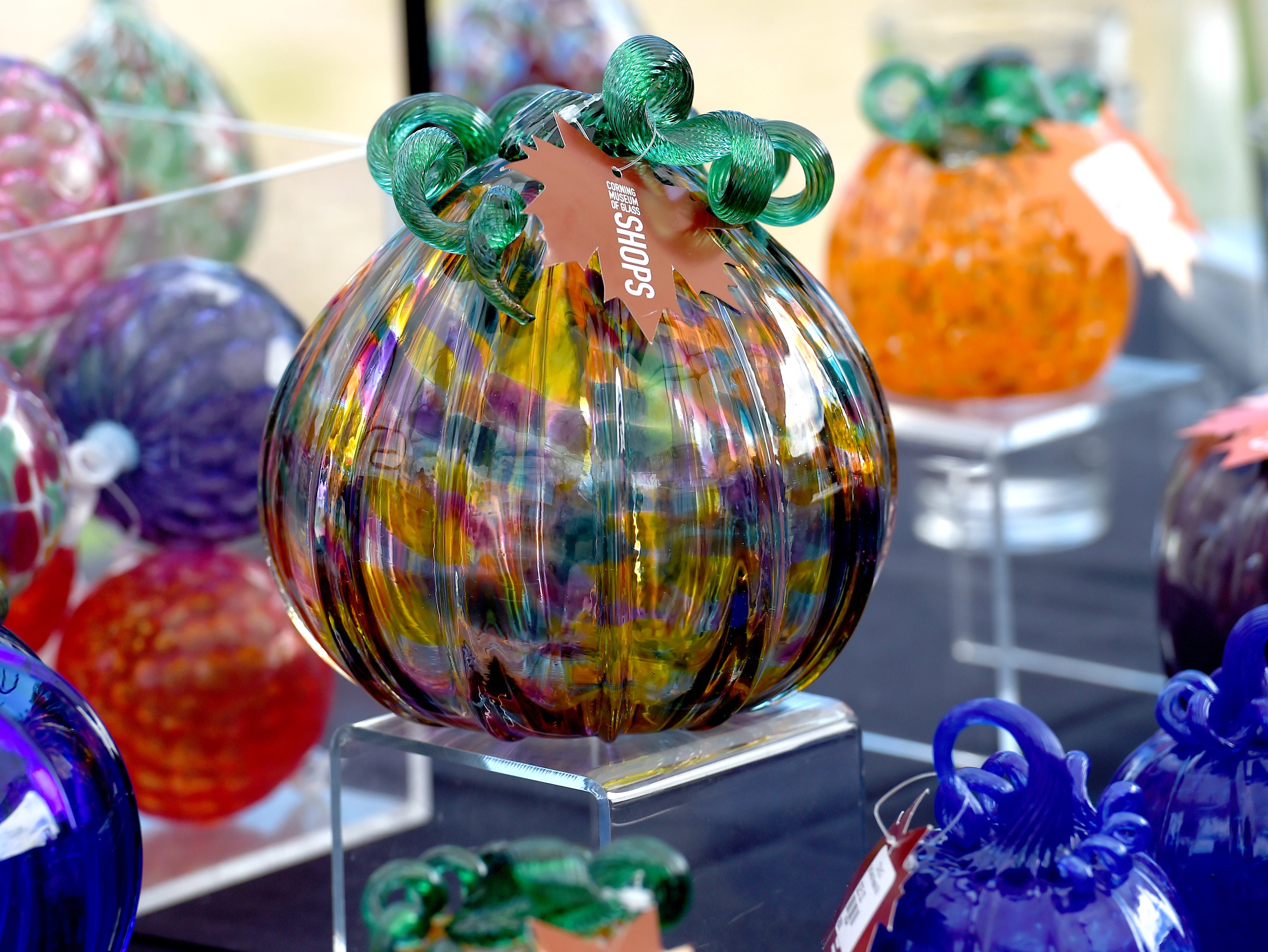 Glass work by the artists traveling with the GlassBarge, a canal boat with patented glass-making equipment. Presented by the Corning Museum of Glass, the GlassBarge is currently docked in Watkins Glen on Seneca Lake and welcomes visitors to glassmaking demonstrations. Friday, September 14, 2018.