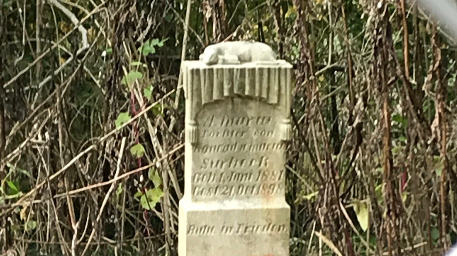 Mary Surbeck's grave, engraved in German, stands alone in a small cemetery near the Vectren A.B. Brown plant in Marrs Township.