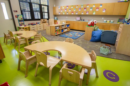 A look inside the new Infant and Toddler Child Development Center wing at the updated Childcare and Early Learning Program facility.