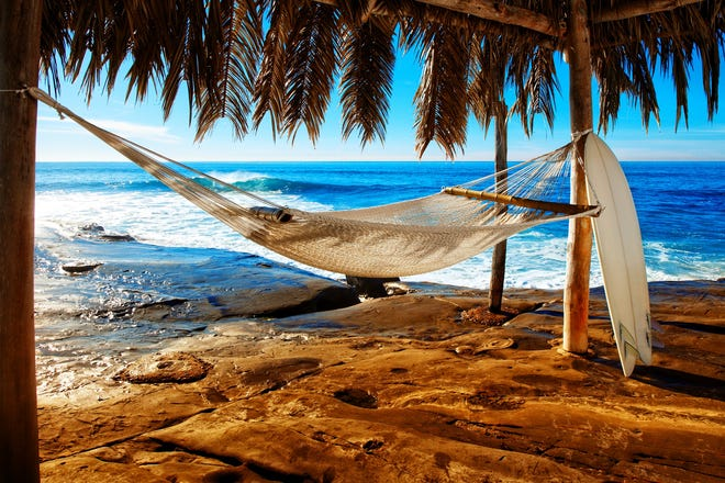 This is a photo of an empty hammock down by wind and sea beach in San Diego California with a surfboard leaning against it.