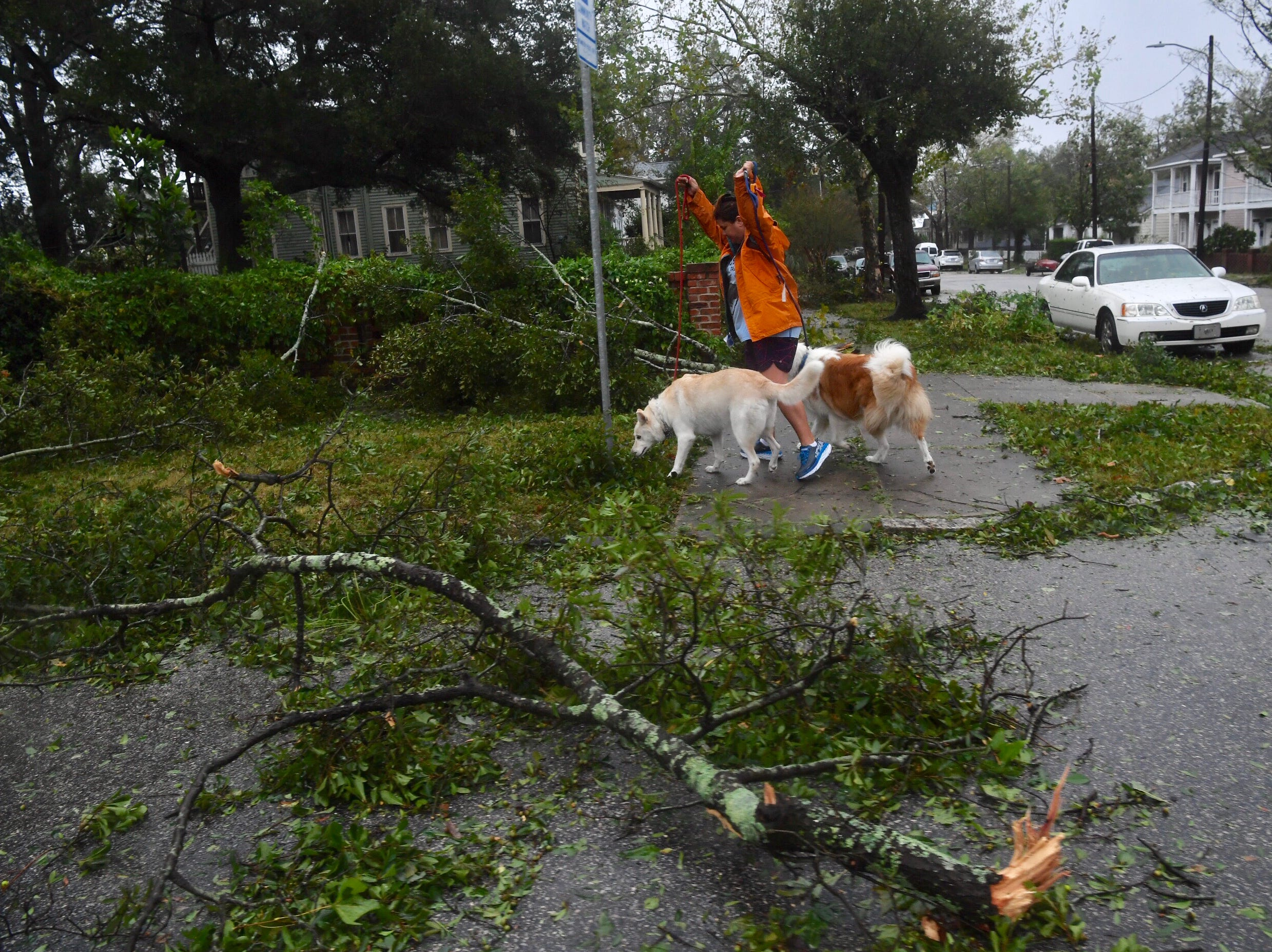 Michelle Kaehny of Wilmington, North Carolina, walks Zeus and Lilly shortly after the brunt of Hurricane Florence passed Friday, Sept. 14, 2018, following landfall near Wrightsville Beach.