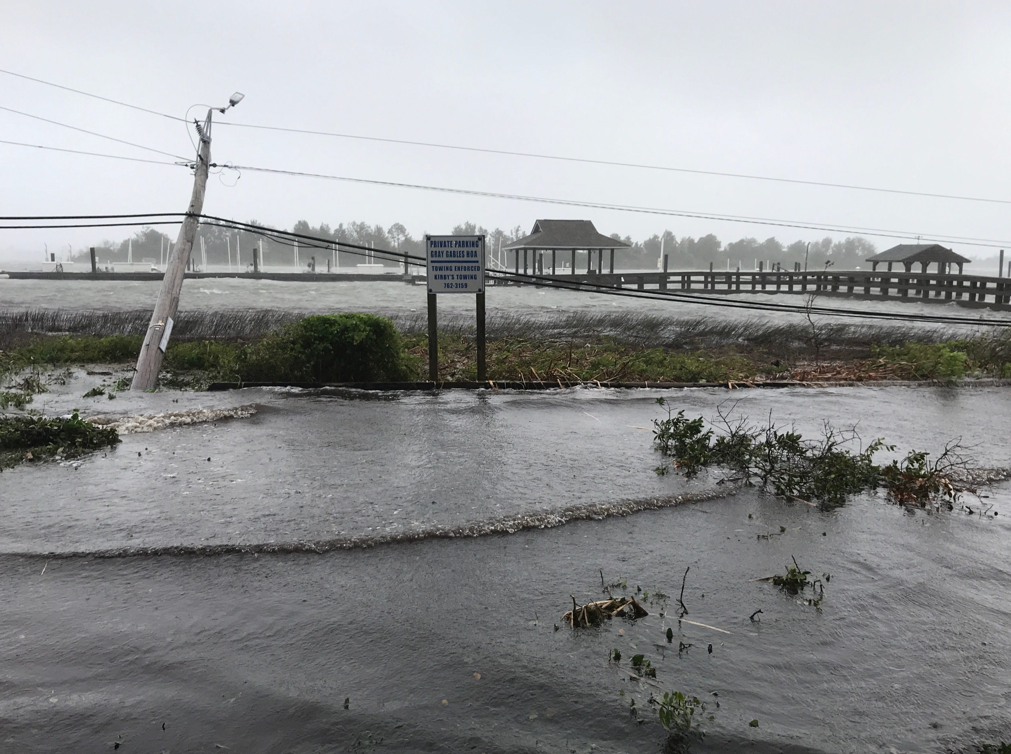 Flooding water at Wrightsville Beach marina as Hurricane Florence passes over Wilmington North Carolina Friday, Sept. 14, 2018.