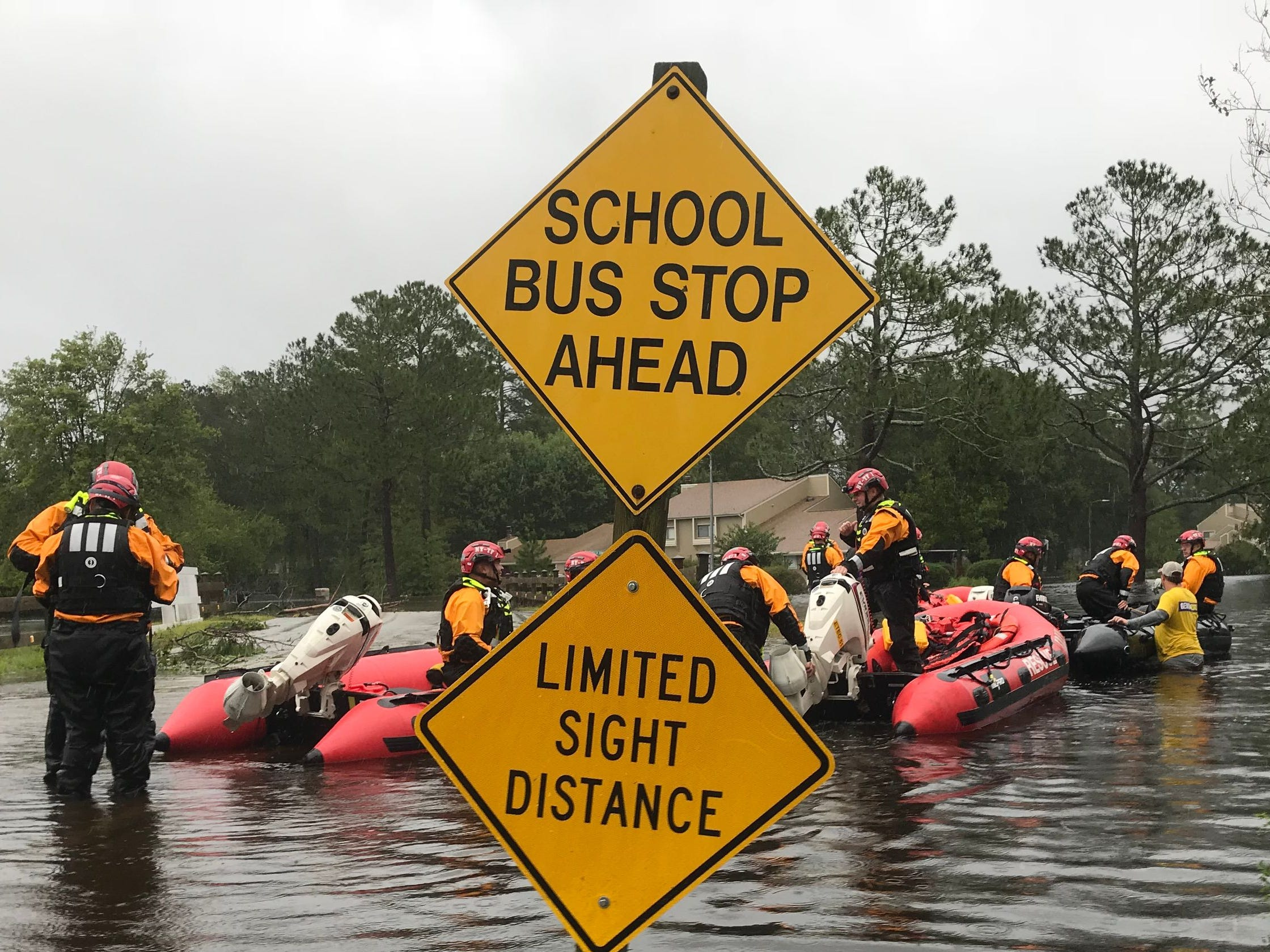 FEMA water rescue teams search for stranded residents near New Bern, North Carolina.