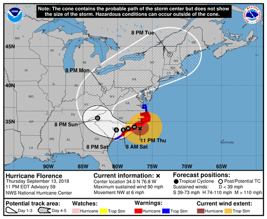 Florence's track, updated 11 p.m. Thursday.