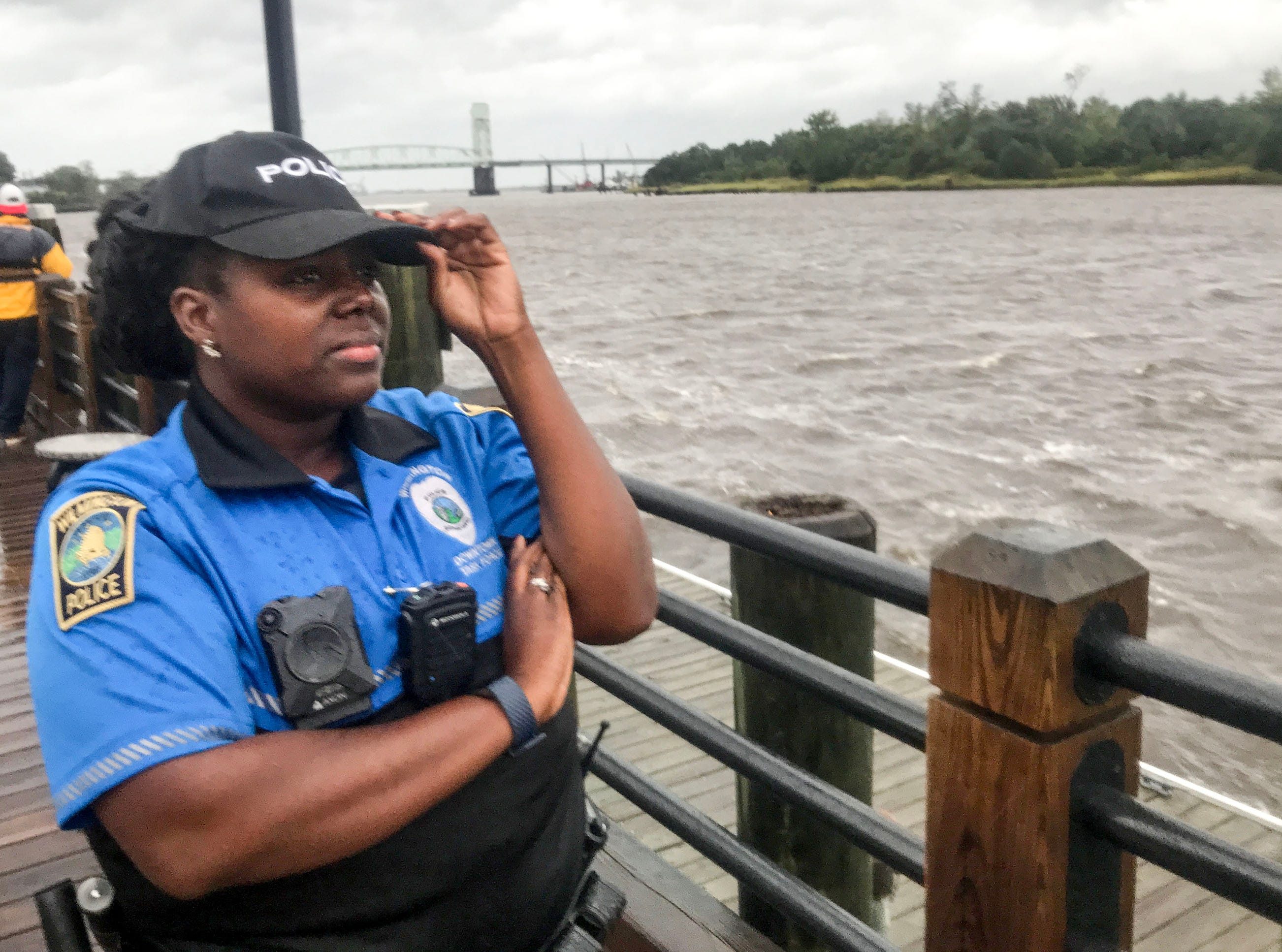 Aricka Sidbury, a Wilmington police officer, patrols downtown near the Cape Fear River in Wilmington, North Carolina on Thursday, September 13, 2018. (Ken Ruinard / Greenville News / Gannett USA Today Network / 2018 )