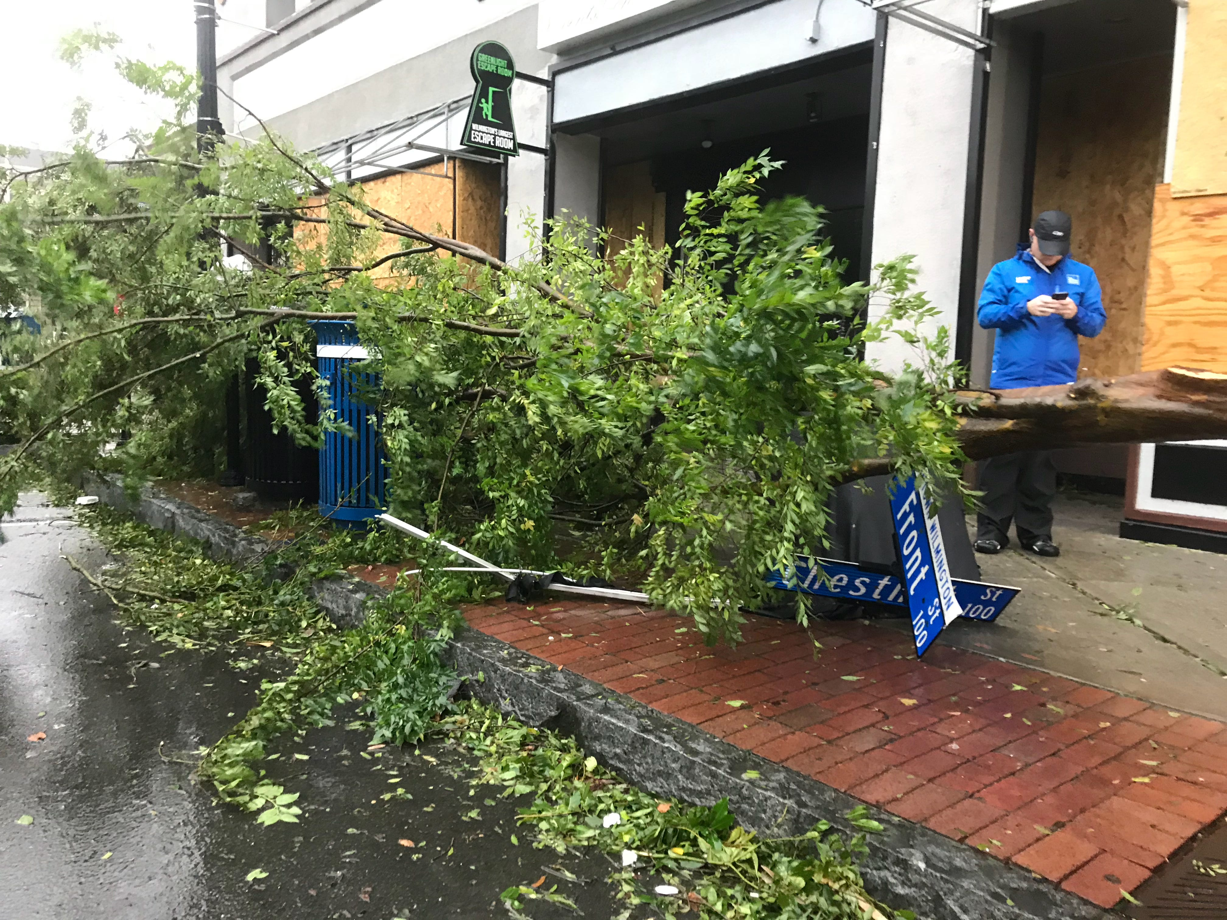 Damage from Hurricane Florence in Wilmington, North Carolina, on Friday, Sept. 14, 2018, after the storm made landfall close to the city earlier in the morning.