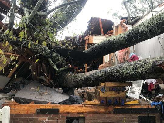 A mother and infant died in Wilmington, N.C. after a tree fell on their home Friday, Sept 14, 2018, during Hurricane Florence.