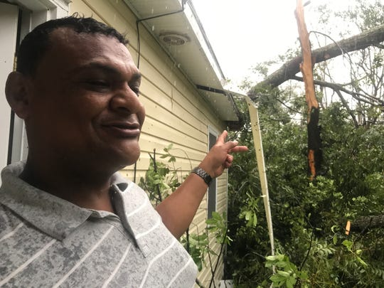 Felipe Ortiz lives on the same block as the mother and infant who died in Wilmington, N.C. after a tree fell on their home Friday, Sept 14, 2018, during Hurricane Florence. Ortiz recently moved to the area from Honduras and a tree fell on his home as well.
