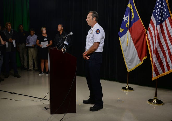 Wilmington deputy fire Chief Steve Mason talks about the first death of a resident from Hurricane Florence, during a press conference at the New Hanover County building in Wilmington, North Carolina, on Friday, September 14, 2018. (Ken Ruinard / Greenville News / Gannett USA Today Network / 2018 )