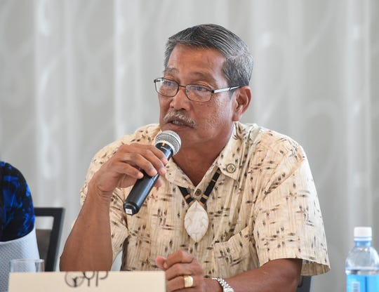 Democratic senatorial candidate Sen. Joe San Agustin speaks to members of the Guam Chamber of Commerce's Guam Young Professionals during a forum at the Outrigger Guam Beach Resort on Sept. 14, 2018.