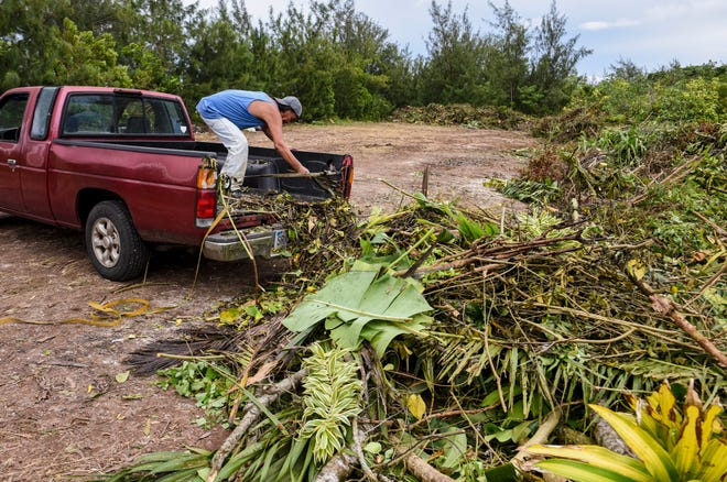Yigo resident Vic dela Cruz sweeps away the last remnants of green waste from his pickup at a designated drop-off point near the V.S.A. Benavente Middle School in Dededo on Sept. 14. Residents can dispose of green waste at designated points in their villages until Sept. 23.