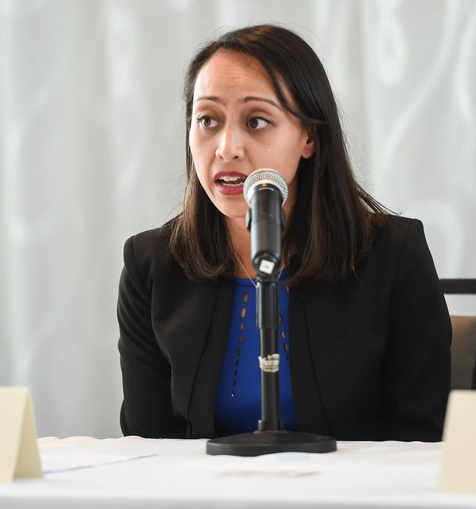 Democratic senatorial candidate Sen. Regine Biscoe Lee speaks to members of the Guam Chamber of Commerce's Guam Young Professionals during a forum at the Outrigger Guam Beach Resort on Sept. 14, 2018.